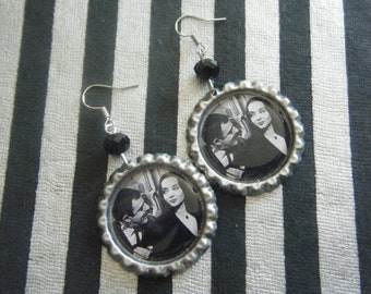 Tish that's french Gomez and Morticia The Addams Family inspired bottle cap earrings with black gradient glass beads