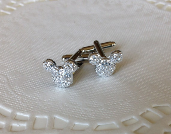 MOUSE EARS Cufflinks for Wedding Party in Dazzling Silver Tone Acrylic