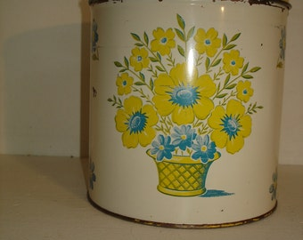 Vintage Tin Canister    Yellow Flowers     Decorware  1950s