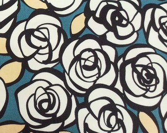 2446C -- Half Yard - Abstract Rose Flower Fabric in Slate Green -- Japanese Cotton Canvas - Cosmo Textile