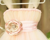 Blush Flower Girl Tutu Dress with Flower Sash