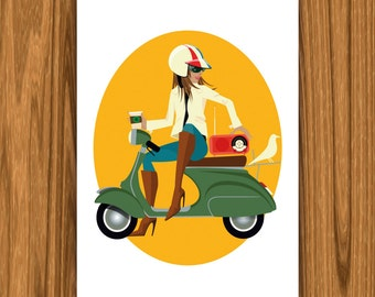 Scooting Around – Eames Bird – A3 Artprint