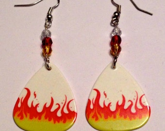 Rising Flames - Guitar Pick Earrings