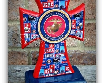 Cross - Wood Cross - Military - Mini-Standing Cross - US MARINES, USMC (can be made in any branch)