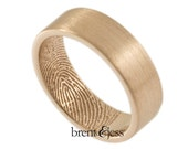 14K Rose Gold Fingerprint Wedding Ring with TIP Print on the Inside 6mm - Size 10 - Custom Wedding Band