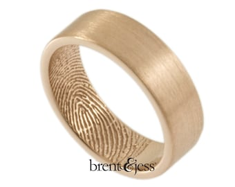 14K Rose Gold Handcrafted Fingerprint Wedding Ring with TIP Print on the Inside 6mm - Size 10 - Custom Wedding Band