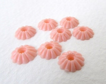 Vintage Cabochon Flower Bead Pink Daisy Plastic Layer 9mm pcb0295 (12)
