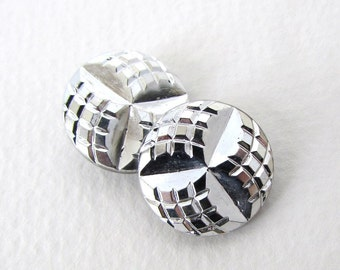 Vintage Czech Buttons Silver Black Glass Shank Navette Embossed 18mm but0215 (4)