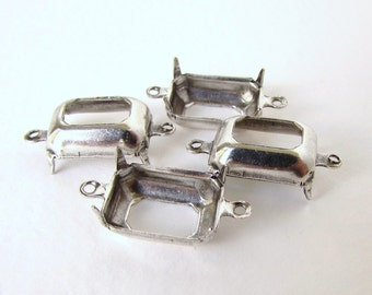 Prong Setting Antiqued Silver Ox Octagon Rhinestone 2 Ring Open 14x10mm set0243 (6)