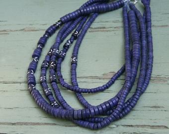Lapis Navy Blue Multi Strand Layered Heishi Beads Beaded Necklace
