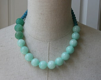 Mint Green Chunky Beaded necklace , Color Block Blue Beaded necklace, Celadon Amazonite Beads