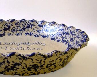 Beige Spongeware Pie Plate - Personalized Pie Plate - Tan Stoneware Glaze Pie Dish - Country Glazed Pie Dish - Hand Painted Pie Plate