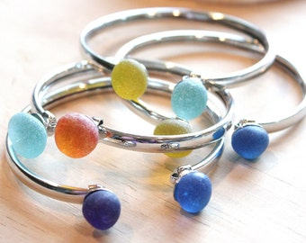 Eco friendly Jewelry 2 choice of Sea Glass pebble mouth on adjustable silver plated bangle made to order