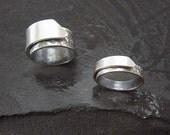 """Unique Silver Band """"Diversity"""" Ring, Adjustable, Modern Design"""