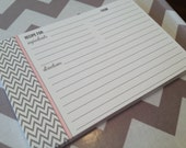 50 4x6 Blank Chevron Recipe Cards - Pick your accent color