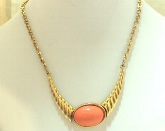 Vintage Necklace with Coral colored Cabochon byJoseph Mazer Signed