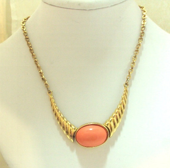 Vintage Necklace With Coral Colored Cabochon ByJoseph Mazer
