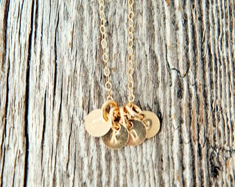 Gold Filled Tiny Sequin Initial Neckalce, Gold Initial Charm Necklace, Gold Charm Necklace, Stamped Gold Necklace, Gold Charm Necklace