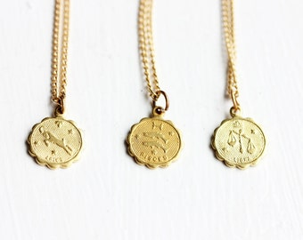 Zodiac Charm Necklace, Astrology Charm Necklace, Gold Zodiac Necklace, Gold Charm Necklace, Vintage Charm Necklace, All Signs Available