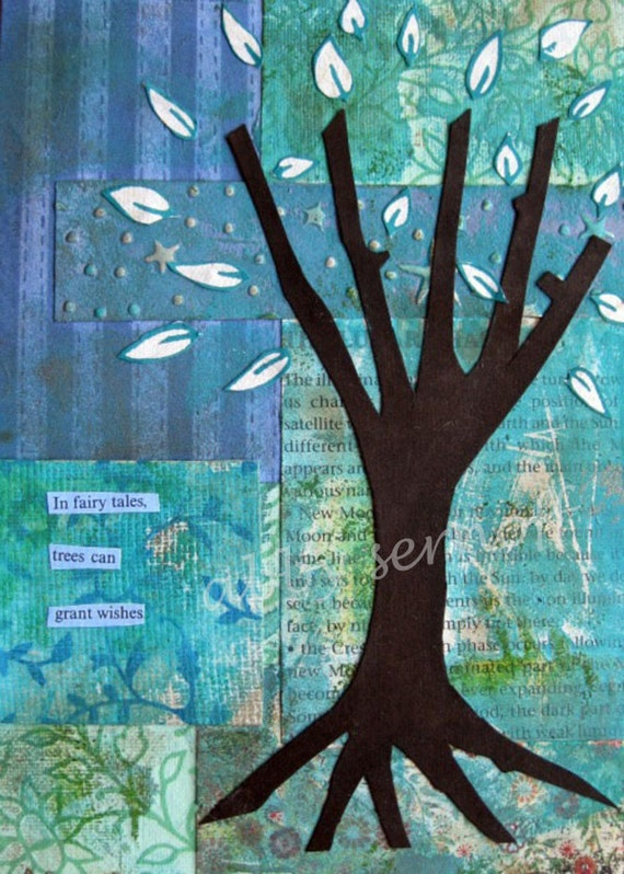 Tree Art  Fairy Tale Art Wishes Collage Giclee Print 5 x 7