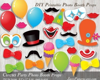 DIY Circus Party printable photo booth props PP002 instant download