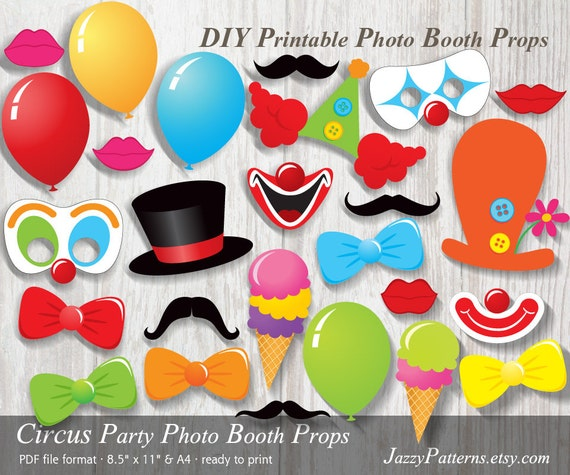 DIY Circus Party printable photo booth props carnival party