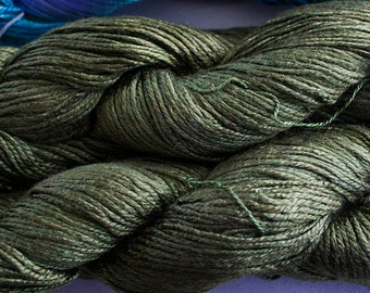 Silk Bamboo, Hand painted yarn, 225 yds - Olive