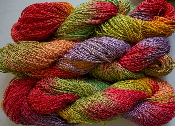 Boucle Yarn : Sparrow, Hand-dyed Cotton & Rayon Boucle Yarn, 225 yds - Tex Mex