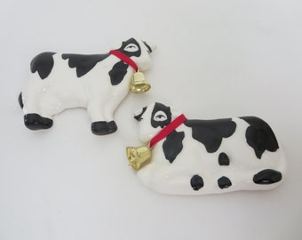 Vintage Cow Magnets - Farm Animal Magnet -  Ceramic Black and White Cows With Red Ribbon and Brass Bell by Russ Berrie & Co.