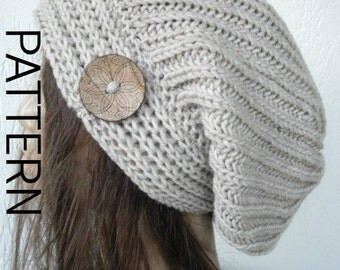Downloadable Pattern Instant Download Knit hat pattern- Digital  Hat Knitting PATTERN Slouchy Hat with Button  Brioche Stitche  hat  Pattern