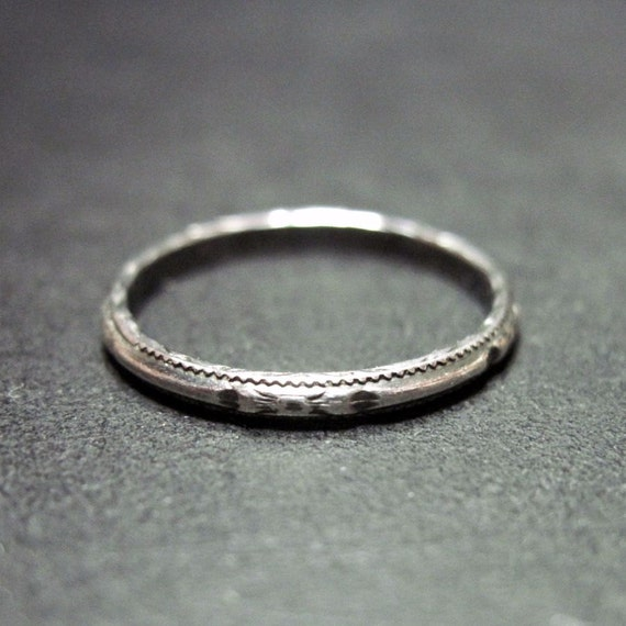 vintage deco wedding ring wedding band narrow thin