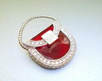 Red Glass Crystal Rhinestone Purse Brooch