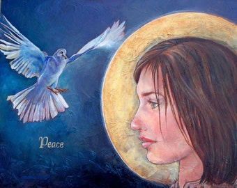 Original Painting, Peace, Angel, Dove, Saint, Fine Art, Catherine Darling Hostetter, Gold Frame, Cathy Darling