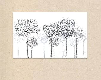 simple trees - 36 x 24 - simple earthy tree contemporary modern rustic art landscape PAINTING on canvas