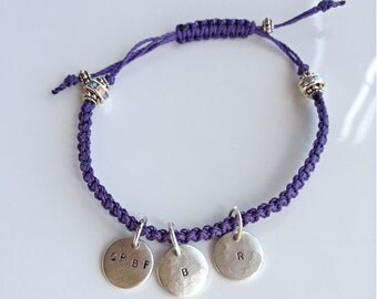 CPBF FBPC Awareness bracelet, 3 tags, personalized, inital, date of birth