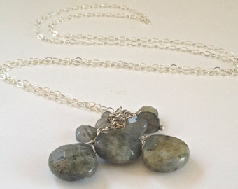 Labradorite Pendant, Gemstone Cluster Long Necklace, Sterling Gemstone Pendant, Waterfall Necklace