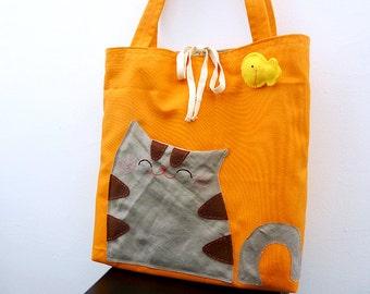 Orange Cat Bag Tote Bag Cat Tote Bag Library Tote Bag Book Tote Bag Book Bag Cat Gift Everyday Tote Tabby Cat - Gift For Her