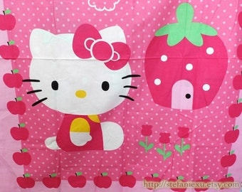 Lovely Dark Pink Bow Hello Kitty Little Yellow Bird Sweet Clouds Strawberry House Apple Frame - Cotton Fabric (1 Panel, 31x41 Inches)