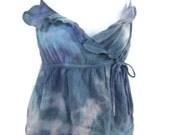 Tie dye ruffle tank in blues M
