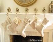 Linen Christmas Stocking Set of 5 Natural Ruffle Bow Cuff