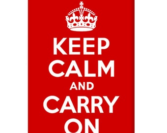 Keep Calm and Carry On - Red British Poster Dog Tag