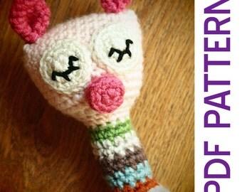 Amigurumi Crochet Sleepy Piggy Baby Rattle Pdf Pattern