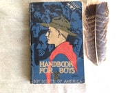 Gift blue red brown boys men dad father Handbook for Boys BSA boys Scouts of america rockwell rare 1936 fine book