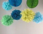 Caribbean Breeze- Mixed Decor Kit - Honeycombs Pick Your Colors - Dessert Table Backdrop Portland Apple Pistachio Blue Aqua Sky Lake Peacock