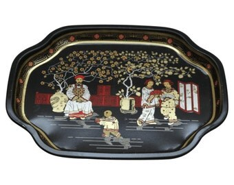Vintage Black Chinoiserie Mini Tray Made in England