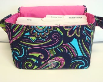 Super Size Coupon Organizer / Budget Organizer Holder Box - Attaches to Your Shopping Cart - English Paisley Phase Multi