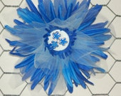 Blue Fairy Flower Bow 4 1/2 inch Hair Flower with layers of petals and tulle with flower center on an alligator clip with teeth