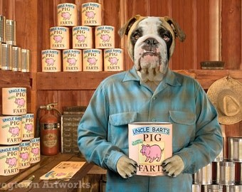 Uncle Bart's Pig Farts, Large Original Photograph of an English Bulldog Wearing Clothes & Selling Farts