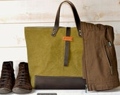 Unisex Tote bag STONEWASH CANVAS / Purse / Shopping tote / Leather straps and bottom