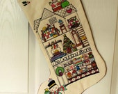 Hand Painted and Quilted Christmas Stocking